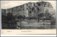 Halle Saale Sachsen-Anhalt AK 1906 gelaufen Moritzburg Wasserseite Schwäne