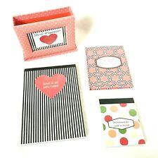 Desk Cardboard Organizer Girls Set Journals Pad Picture Frame Pink Black