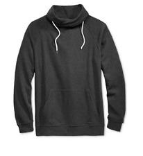 Univibe Men's Funnel Fleece Sweatshirt, Black Heather, XL