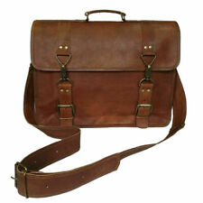 Vintage Leather Messenger Bag 17 In Laptop Satchel Office Briefcase Shoulder Bag