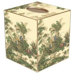 MARYE-KELLEY, FRENCH CRÈME TOILE CUBED TISSUE BOX COVER, NEW