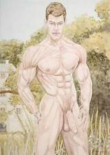boy, homme nu, watercolor print nude male in English garden gay interest