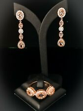 Morganite Dangle Earring, ring set Rose Gold Plated in sterling silver