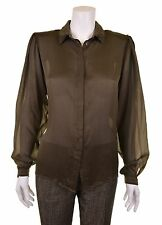 ETRO Milano Italy Iridescent Green 100% SILK Sheer Button Down Blouse Shirt 44