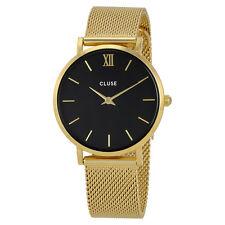 Cluse Minuit Black Dial Gold-tone Mesh Ladies Watch CL30012