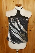 1MAX silver grey silk swirl halterneck camisole vest tunic party top 12 40