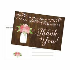 50 4x6 Rustic Floral Thank You Postcards Bulk, Cute Flower Matte Thank You No...