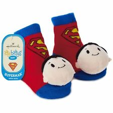 SUPERMAN itty bittys Baby Rattle Socks Shoes Hallmark Gift 0-12 New!!