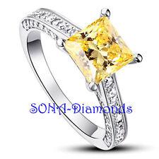 Yellow Princess Wedding Man Made SONA NSCD Diamonds SILVER 925 Engagement Ring