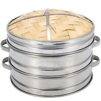2 Tier 20Cm Bamboo Steamer Basket With Cover Cookware Kitchen For Dumpling A4V9