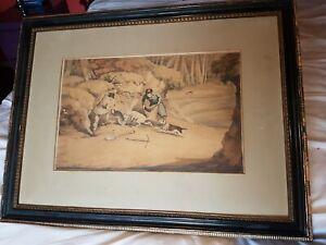 Antique Large Old Original Drawing 1919 Signed Framed