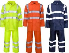 Hi Viz High Visibility Waterproof Rain Suite Jacket Trouser  Hoded Rain Wear Set