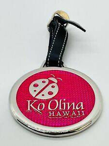 Ko Olina Golf Club Hawaii Pink Metal Unused Unengraved Bag Tag w/ Leather Strap