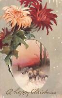 1907 VINTAGE TUCKS OILETTE HAPPY CHRISTMAS SHEEP POSTCARD - red 1d SA Stamp