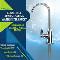 Goose-neck High Spout Cold Water Kitchen Drinking Faucet Dispenser Brushed Nicke