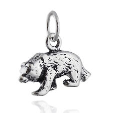 Bear Charm - 925 Sterling Silver - Brown Black Grizzly Cub Wild Animal Zoo NEW