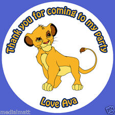 Personalised Lion King Simba 37mm Round Birthday Stickers Party Thank You