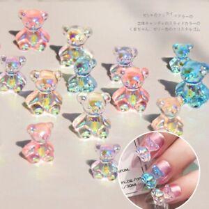 6pcs 3D Cute Bear Nail Art Decorations Aurora Rhinestone Jelly Beads Tips Tool