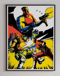 Dynamite Duke 1989 Arcade Retro Video Game Poster 18 x 24 inches