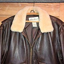 VTG EDDIE BAUER M/Lg leather Moto bomber jacket coat/sheep shearling collar