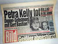 Bildzeitung vom 20.10.1992 * Petra Kelly tot * 24. 25. 26. Geburtstag