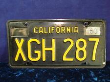 "Vintage 1963 CALIFORNIA License Plate ID TAG Nice Clean CA ""XGH 287"" Black/Gold"