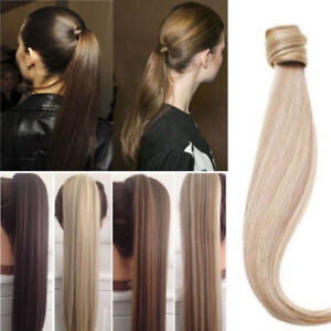 Silky Straight Wrap- Ponytail 100% Real Remy Human Hair Clip Extension 100g