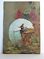 LATE 19TH CENTURY PAINTING BLACK AMERICAN BOY & HIS DOG FISHING ON RIVER BANK