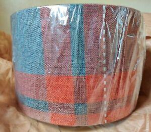 "Tartan Check Lampshade / Pendant Ceiling Lightshade Rust & Grey Colour 11"" D."