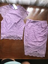 Lilac 2 Piece Matching Set $4 EXPRESS Pink Purple Skirt Crop Lace High Neck Knee