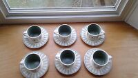 Pfaltzgraff Naturewood 6 3/4 Saucers and Coffee Mugs  Set of 6 Made In USA