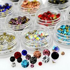 12 Mixed Colors Sharp Bottom Nail Art Decoration Rhinestones Jewelry Accessories