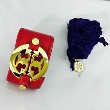TORY BURCH bracelet, leather cuff, red / gold w/dust bag
