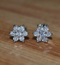 Lovely Dainty Ladies/Girls 925 Sterling Silver Plated Crystal Stud Earrings