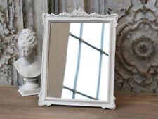 Chic Antique Spiegel weiß Rosen Schminkspiegel Wandspiegel Tischspiegel Vintage