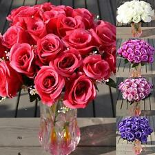 Artificial Dried Flowers 24 Heads Fake Rose Wedding Party Home Decoration Kit