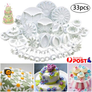 33pcs Plunger Cutters Cake Decorating Fondant Cookie Biscuit Baking Mold Flower