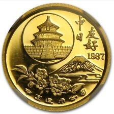 1987 Proof 1/20oz Sino-Japanese China 5 Yuan Gold Panda - .999 Fine Gold