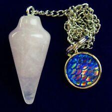 SH3729 Rose Quartz Pendulum Blue Dripping Oil Round Pendant Bead