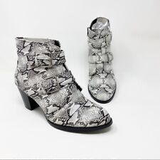 Coconuts By Mattise Snakeskin Motorcycle Heeled Booties Ankle Boots Size 7.5