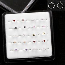 20Pcs Multi-Color CZ 925 Solid Silver Nose Stud Ear Lip Open Hoop Nose Ring
