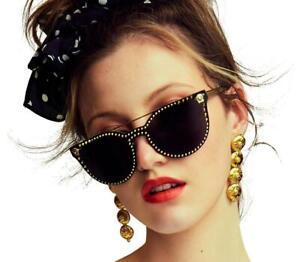 RARE VERSACE GLAM MEDUSA Gold Stud Cat Eye Metal Frame Sunglasses VE 2177 125287