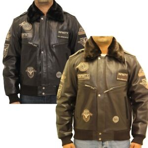 Mens A2 Bomber Aviator Leather Jacket with Sheepskin Collar in Black and Brown