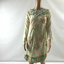 Womens Indian Pakistan Kurta Top Embellished Beaded Side Slit Long Sleeve F75