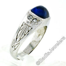 Men's Antique 18k White Gold Sugarloaf Cabochon Blue Stone Diamond Engraved Ring