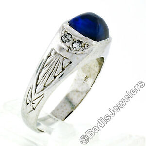 Men's Antique 18k White Gold Sugarloaf Cabochon Blue Stone Diamond Engraved Ring