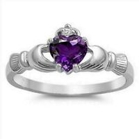 Celtic Claddagh Ring Sterling Silver 925 Amethyst CZ Face Height 9 mm Size 9