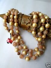 Vintage Coro Signed Pegasus 3-strand Necklace Beaded Brown FREE SHIP