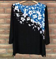 Women's Croft & Barrow Top Long Sleeve Black/Blue Floral Size M Round Neck