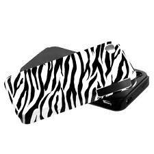 For iPHONE 4 4S - HARD & SOFT RUBBER HYBRID IMPACT SKIN CASE BLACK WHITE ZEBRA
